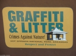 Hot Springs Mountain Trail Graffiti Litter Sign