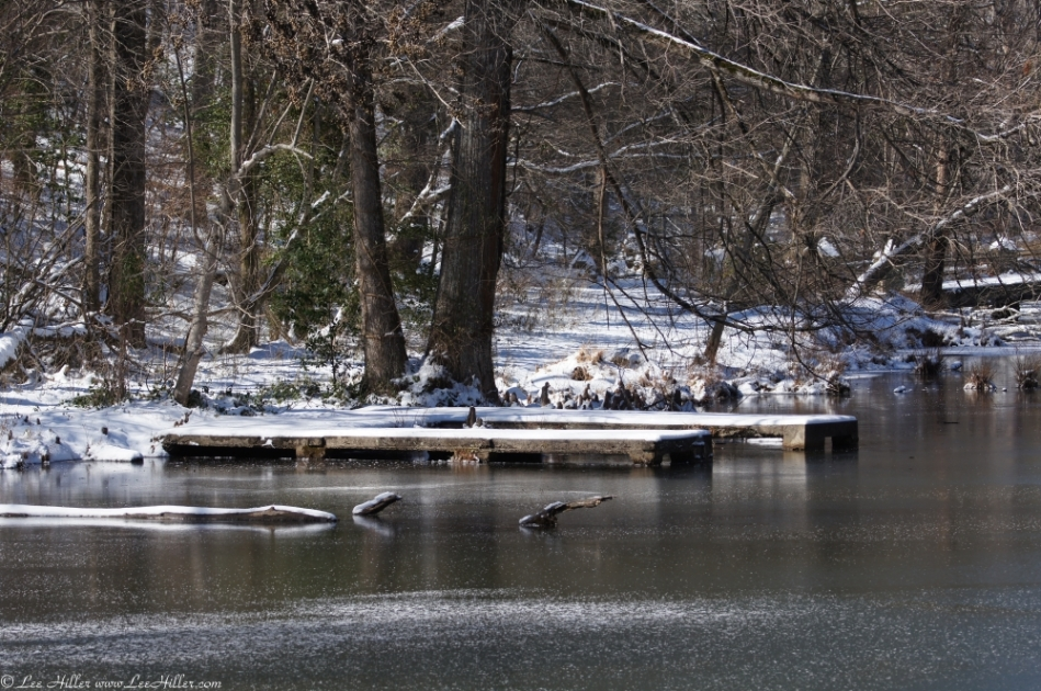Hot Springs National Park Ricks Pond Jetty Ice Snow