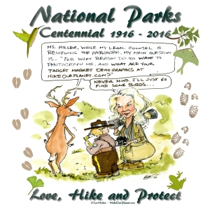 Lee Hiller) hiking and taking photos in a National Park